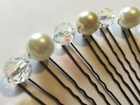 10X CLEAR AB CRYSTAL & PEARL HAIR PINS BRIDE BRIDESMAID PROM PURITY COMMUNION