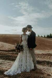 Beach Wedding Dresses Bridal Gowns A Line Lace Appliques Short Sleeves Custom