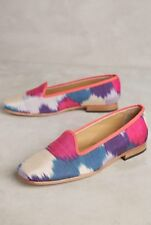 NEW $228 Anthropologie Artemis Design Silk Smoking Flats Loafers Size 37