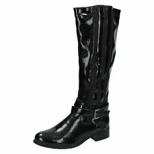 WOMENS LADIES SPOT ON F50154 ZIP LOW HEEL RIDING LONG KNEE PATENT BIKER BOOTS