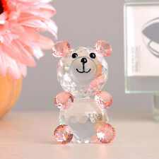 Crystal Pink Bear Paperweight Wedding Decor Xmas Gift Ornament Box Collection