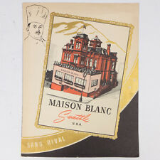Rare Vintage Maison Blanc Seattle Dining Lunch Drinks Paper Menu