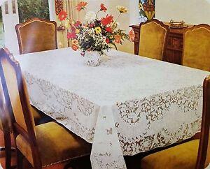 "Lace Tablecloth floral design in cream / white colors- 40"" Square, 60"" Round"