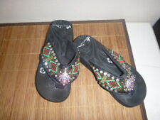Montana West Flip Flop Sandals Hand Beaded Embroidered Black-Aztec-Size 7