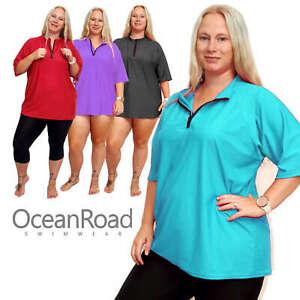 Ladies Plus Size 18-28 Loose Fit Rash Shirt Rashie Surf Vest Guard Short Sleeve