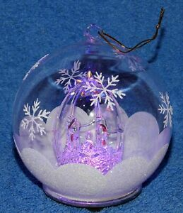 TWO (2) LARGE Christmas LED Col-change Glass Globes (Nativity scene) -Hang/stand