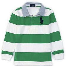 NEW Nwt Ralph Lauren POLO Boys Green Striped Rugby Shirt Size 7 $55 School