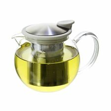 FORLIFE Bola Glass Teapot with Basket Infuser 25oz./750ml. White