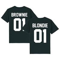 Partnerlook - T-Shirt für Paare - Blondie Brownie 01 Back Partner Unisex Shir...