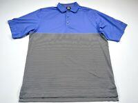 Footjoy FJ L Men's Blue Stripe Short Sleeve Golf Polo