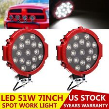 2x 7inch 51W Offroad Round LED Driving Light Spot Backup Fog for Ford Hummer 4WD