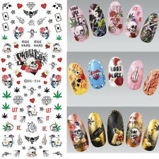 Nail Water Decals Skull Rose Heart Manicure Nail Art Transfer Stickers Tips DIY