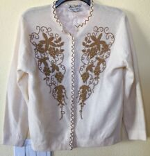 Vintage Beaded Cardigan Gold Flowers MEDIUM Angora Blend