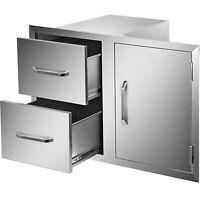 "36"" x 24"" BBQ Door Double Drawer BBQ Drawer Larger Storage Outdoor Kitchen Grill"