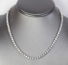 "14K White Gold Over 22"" Men's 25Ct White Lab-Diamond Tennis Necklace"