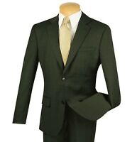 Vinci Men's Olive Green Windowpane Plaid 100% Wool 2 Button Slim-Fit Suit NEW