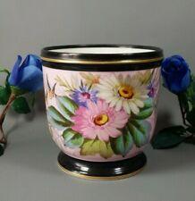 Antique French Old Paris Porcelain Victorian Cache Pot Planter Hand Painted Pink