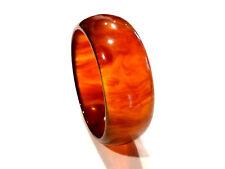 Bijou fantaisie bracelet jonc lucite ambrée flammée  bangle