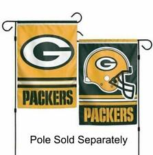 Green Bay Packers 2 Sided Double Garden Flag Outdoor Window Banner 12 x18 New.