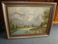491. Ölbild Bild Bach Berg Dorf Signiert  ?  Es handelt sich um Garmisch-Partenk