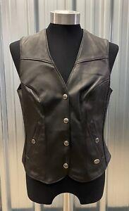 Harley Davidson Women's Black Leather Vest Size Medium Excellent Condition