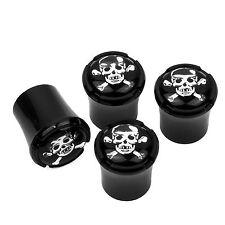 Skull Crossbones Logo Black Tire Valve Stem Caps  MADE IN USA
