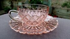 Hocking Pink Waterford / Waffle Cup And Saucer Set