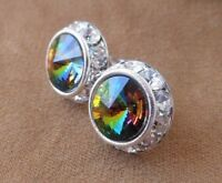 HYPOALLERGENIC Stud Earrings Swarovski Elements Vitrail Crystal with Rhinestones