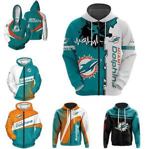 Miami Dolphins Football Hoodie Full Zip Hooded Sweatshirt Casual Jacket Fan Gift
