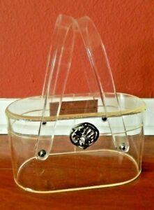 VINTAGE WILARDY 1950s MID CENTURY CLEAR LUCITE TWO HANDLE BOX PURSE HANDBAG BAG