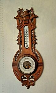 Antique RARE Wall Wood Carved Black Forest Deer Hunting Barometer Thermometer