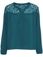 43/10 NEU ONLY Damen Hemd Spitze Bluse onlPAPRIKA L/S V NECK TOP SOLID WVN Gr.38