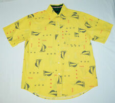 Tommy Hilfiger Sailboat TH-85 Aloha Camp Yellow Short Sleeve Button Down Shirt M