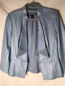 White House Black Market dutchess blue genuine leather jacket M $450