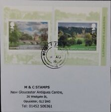 GB 2016 Very fine used pair of Landscaped Gardens Self Adhesive Booklet Stamps.