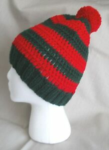 Handmade Knit/crochet Hat/beanie - red and dark green stripes