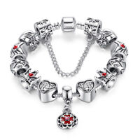 VOROCO Queen Crown Silver Plated Chain Charm Bead Fit Bracelet With Crystal Gift