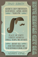 WIG AND STACHE BASH MUSTACHE Printable ADULT Birthday Party Invitation TICKET