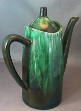Vintage FLOW GREEN CERAMIC ART POTTERY COFFEE POT & LID EXCELLENT CONDITION