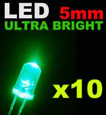 409/10# LED Verte 5mm lot de 10 + résistance  16000mcd