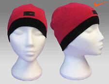 Nike Femmes tricot coton bonnet rose bord noir authentique