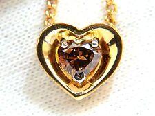 78CT NATURAL PURE VIVID BROWN HEART CUT DIAMOND PENDANT 14KT NECKLACE+