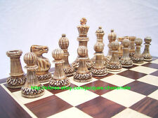 ANTIQUE STYLE CAMEL BONE INTRICATELY HANDCARVED STAUNTON CHESS SET - EXCLUSIVE