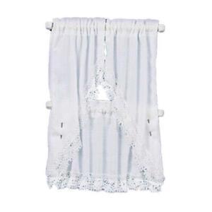 Melody Jane Dolls House White Kitchen Curtains & Valance on Rail Windows