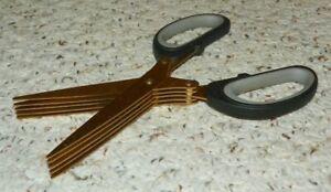 Vintage Herb Scissors - Heavy Duty 5 Blade Kitchen Shears - Gold Tone