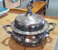 ANTIQUE VINTAGE SILVERPLATE COVERED BUTTER DISH WITH DEEP GLASS INSERT ♡ MARKED