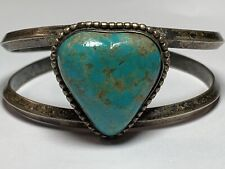 Genuine Heart Turquoise Navajo Bracelet Sterling Silver 925 Womens Patina Fine