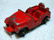 1950s Midgetoy DIE CAST ARMY JEEP M38A1 Orange Willys CJ-5 Rockford ILL USA