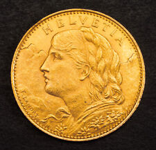 1922, Switzerland (Confederation). Nice Gold 10 Francs Coin. (AU-UNC!) 3.23gm!