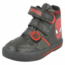 BOYS SIZE 7 - 1 SPIDERMAN MARVEL BLACK RED BOOTS RIPTAPE STRAP TRAINERS CRAWL